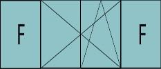 Composition de trois parties avec deux fixes latéraux et deux vantaux au milieu en ouverture à la française oscillo-battante - grille de ventilation BASIC AIR PLUS