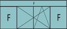 Composition de 3 parties : deux fixes latéraux, deux vantaux au milieu en ouverture à la française oscillo-battante – grille de ventilation BASIC AIR PLUS & imposte vitrée fixe sur toute la largeur