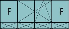 Composition de trois parties avec deux fixes latéraux, deux vantaux au milieu en ouverture à la française oscillo-battante – grille de ventilation BASIC AIR PLUS & soubassements pleins