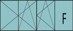 Composition de 3 parties : 2 vantaux à gauche ouverture à la française oscillo-battante, 1vantail ouverture à la française à droite oscillo-battante, grille de ventilation BASIC AIR PLUS & 1fixe