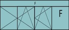 Compo de 3 parties : 2vantaux à gauche ouverture à la française oscillo-B, 1vantail ouverture à la française à droite oscillo-B, grille de ventilation BASIC AIR PLUS, 1fixe & imposte vitrée fixe