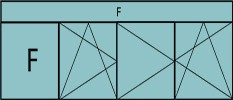 Compo de 4parties : 1fixe à gauche,1vtl ouverture à la française à gauche oscillo-battante, 2vtx ouverture à la française oscillo-battante, grille de ventilation BASIC AIR PLUS & imposte vitrée fixe