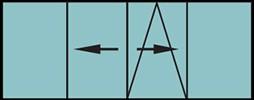 Porte-fenêtre coulissante à translation 4vtx. Les 2vtx latéraux sont fixes et les 2 vantaux du milieu sont oscillo-battants - grille de ventilation BASIC AIR PLUS et coulissent à droite et à gauche