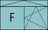 Composition de 2 parties avec partie fixe à gauche, un vantail en ouverture à la française à droite oscillo-battante - grille de ventilation BASIC AIR PLUS & imposte à soufflet sur toute la largeur