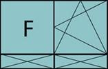 Composition de 2 parties avec 1 partie fixe à gauche, un vantail en ouverture à la française à droite oscillo-battante - grille de ventilation BASIC AIR PLUS et 2 allèges pleines fixes