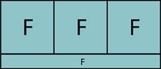Composition de trois parties fixes avec allège vitrée fixe sur toute la largeur.
