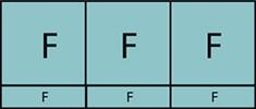 Composition de trois parties fixes avec trois allèges vitrées fixes.